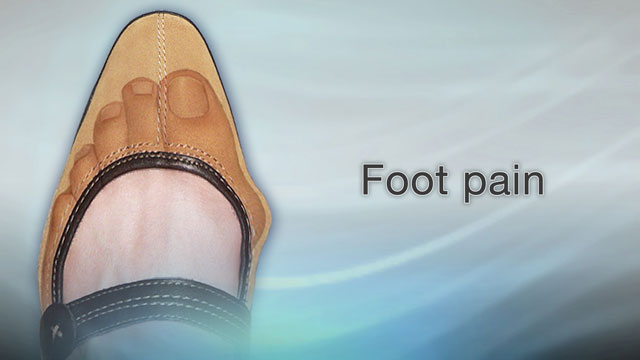 <div class=media-desc><strong>Foot pain</strong><p>Healthy feet often travel miles each day. You use them to get up and down supermarket aisles, climb stairs, and walk on the treadmill, among other things. Any pain or discomfort in your feet can really slow you down and impact your life. Let's talk about foot pain, and what to do if you have it. A lot of different things can cause foot pain, including those stiletto heels you couldn't resist passing by the shoe store window at the mall. Wearing poorly fitting or high-heeled shoes day after day can squeeze and pinch your feet until they start to hurt. For example, shoes that are too narrow can cause bunions, swollen bumps at the base of your big toe. Wearing shoes that are too tight can curl your toes until they look like a claw. That's called a hammer toe. When your feet rub against your shoes, you can get areas of thickened skin called calluses or corns. And too much pressure from your shoes on the soles of your feet can create an opening for a viral infection called plantar warts. If your shoes aren't a problem, you may have one of several conditions that cause foot pain. Arthritis, a fractured or broken bone, gout, tendinitis, plantar fasciitis can all make your feet hurt. You're more likely to have foot problems as you get older and your joints wear down. Being overweight puts extra pressure on your feet, which can also lead to pain. So, what do you do if your feet hurt? That depends on what's causing your pain. Sometimes you can treat foot pain at home. For example, you can hold ice to your foot to bring down swelling, and take an over-the-counter pain reliever such as ibuprofen or acetaminophen. Try to keep off the painful foot as much as you can. Sit with your feet raised until they start to feel at least a bit better. Wearing foot pads and other shoe inserts may also help your feet heal and prevent future pain. Sometimes you'll need to see a doctor, especially if the pain is due to an injury, or it's severe,